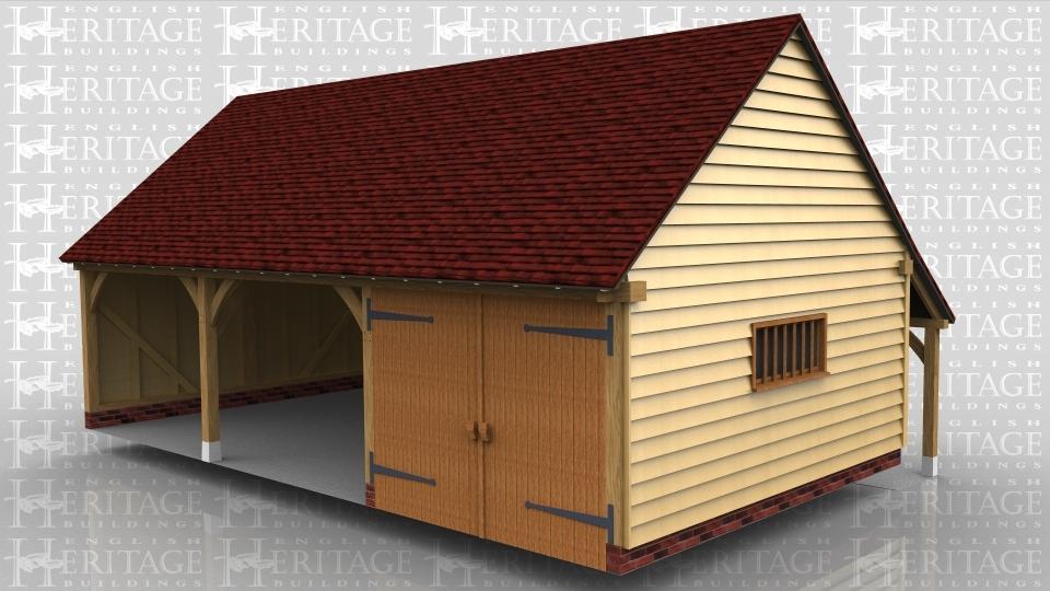 3 bay oak frame garage 2 open bays rear open storage for Three bay garage