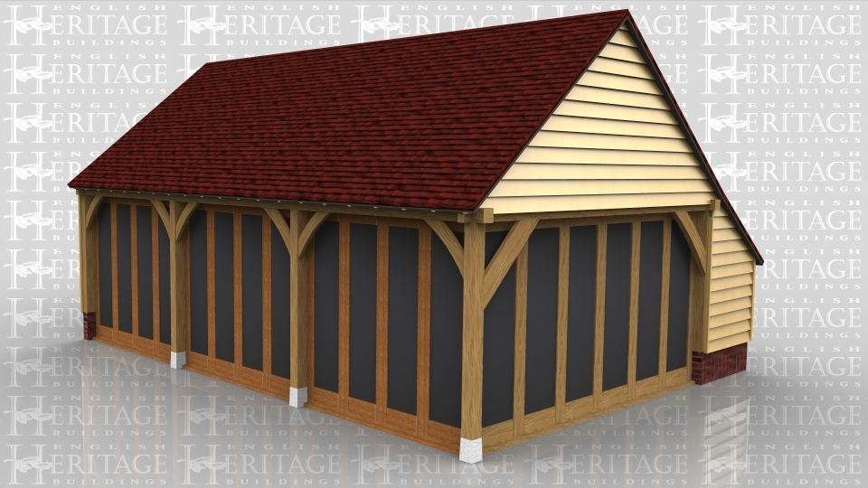 This oak framed three bay home leisure building is fully glazede to the front and accessed via a single door to the left. There is an enclosed store to the rear.