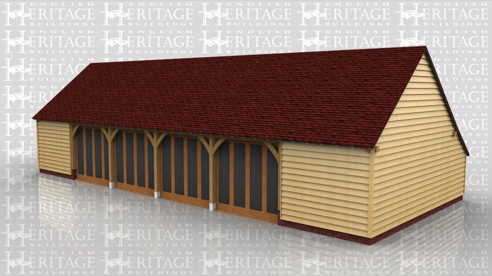 This oak framed home leisure building is formed of six enclosed bays, with full length glazing to the front of four bays. There is an enclosed logstore to the rear.