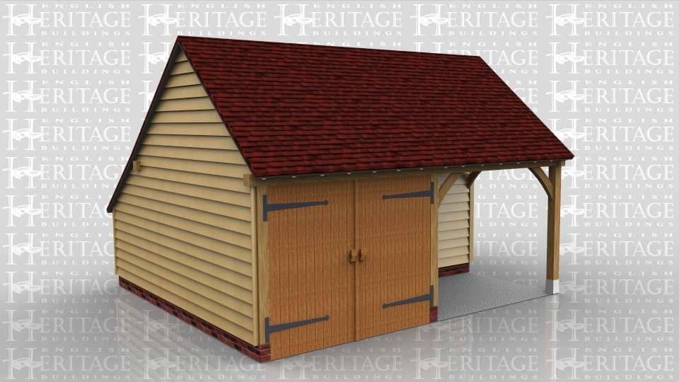 This oak framed home leisure building is formed of two bays; both are enclosed, but one has a set back partition to the front to form a porch effect. The other bay is accessed by a set of garage doors. There is an enclosed store to the rear.