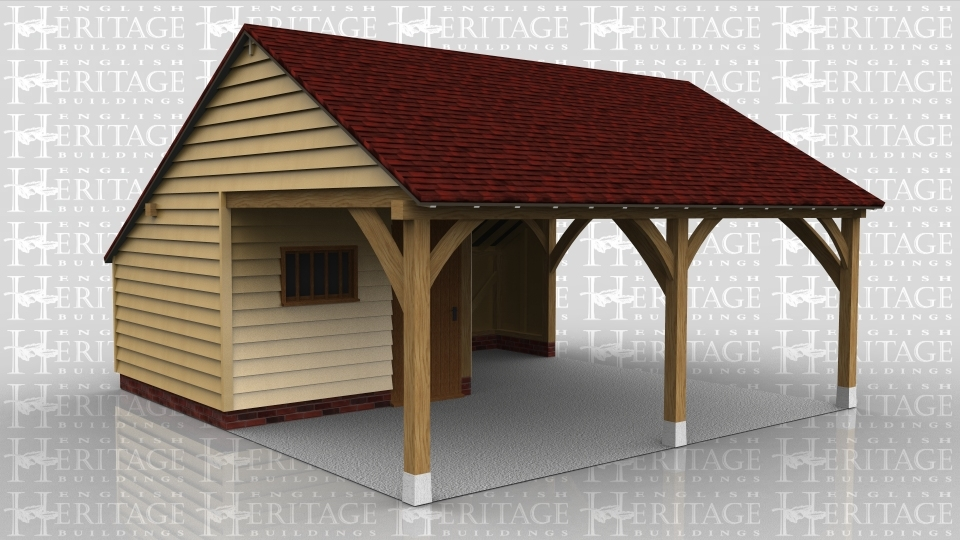 This oak framed garage is formed of two bays; one open and one enclosed. The enclosed bay has a set back partition to form a porch effect, and is accessed by a single solid door and a mullion window. There is an enclosed store to the rear of the building.