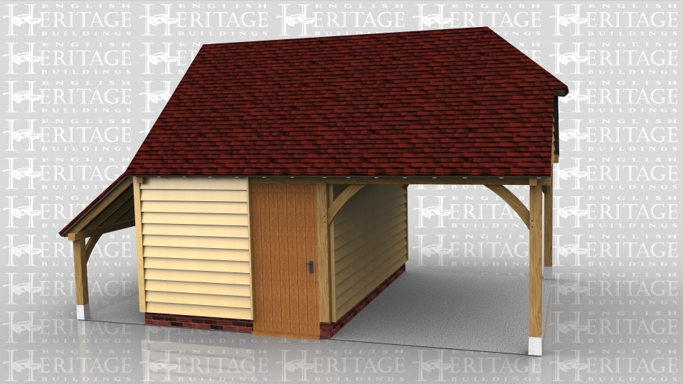 This oak framed garage has one open bay and one enclosed bay. The enclosed bay is accessed via a single door to the rear and has a mullion window to the front. There is also an open logstore to the right side.