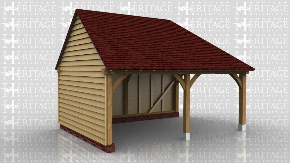 2 bay oak frame garage front right side open ws01004 for Due bay garage