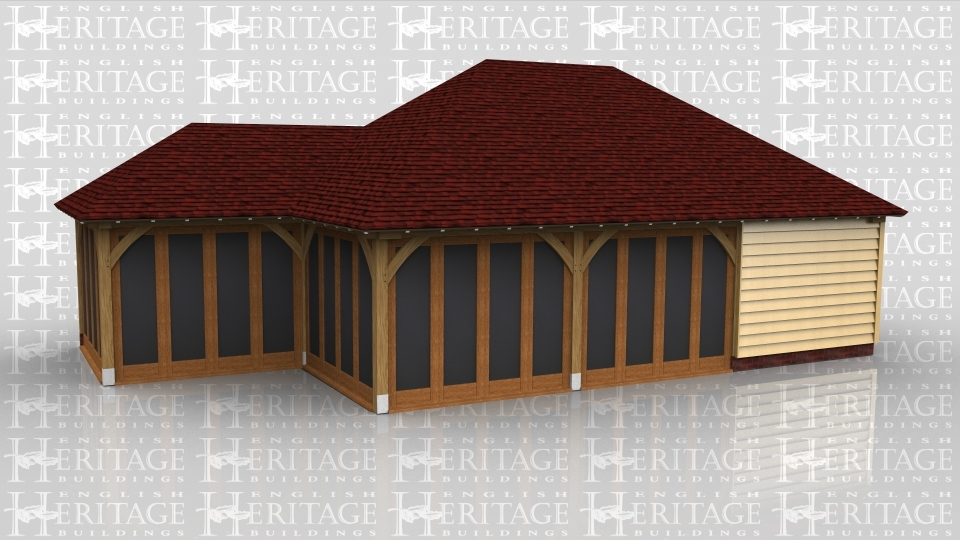 This oak framed home leisure building is comprised of two different frames, with four bays altogether. The smaller bay attached to the left hand side is fully glazed to the front and left sides with a small enclosed store to the rear. The other three bays have two with full glazing to the front and one enclosed bay.