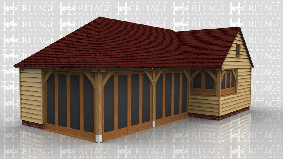 This oak framed garden room has two bays with full length garden room windows to the front and left hand side, and one smaller bay with a two pane window to the front and a three pane window to the right hand side. There is also a circular window on the first floor.