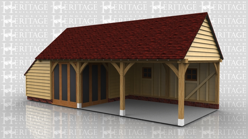 This oak framed garage building has two open garage bays and one enclosed bay with full length garden room windows to the front. There is also an enclosed store to the left hand side.