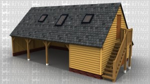 This oak framed two storey garage is formed of three open bays and one enclosed. The enclosed bay is accessed via a single door to the right. The first floor is accessed by an external oak staircase and a single door. There are trimmings for three rooflights and to the rear of the building is an open logstore.