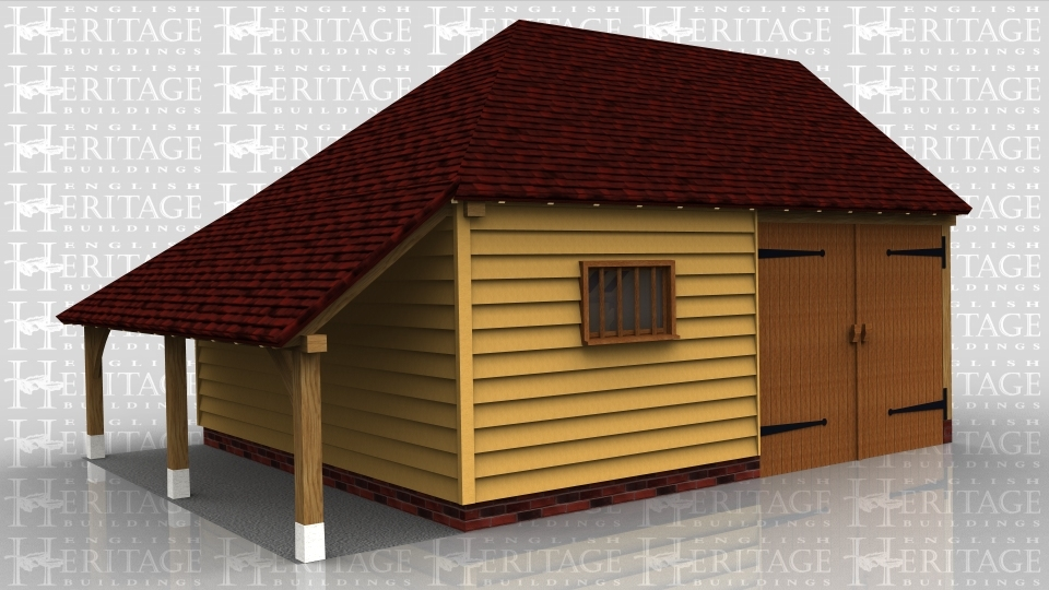 This oak framed garage is formed of two bays, both enclosed. They are accessed by a set of garage doors to the front of the building, also at the front is a mullion window.There is an enclosed store to the rear, and an open store to the left side.