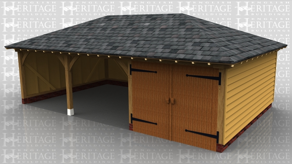 This oak framed garage is formed of three bays, one enclosed and two open. The enclosed bay is accessed by a single set of doors to the front.
