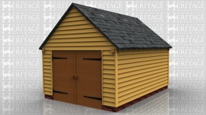 This oak framed garage is formed of two bays, enclosed to the front and accessed by a set of garage doors to the left and right side of the building.