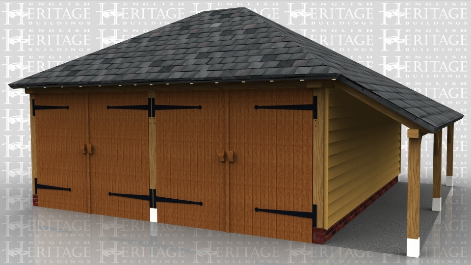 This oak framed garage has two enclosed bays accessed via standard garage doors to the front. It also has an open store to the the right.