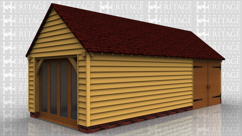This oak framed garage is formed of three enclosed bays, with full length glazing to the left side. The third bay is enclosed by a set of garage doors, and has an enclosed store to the rear.