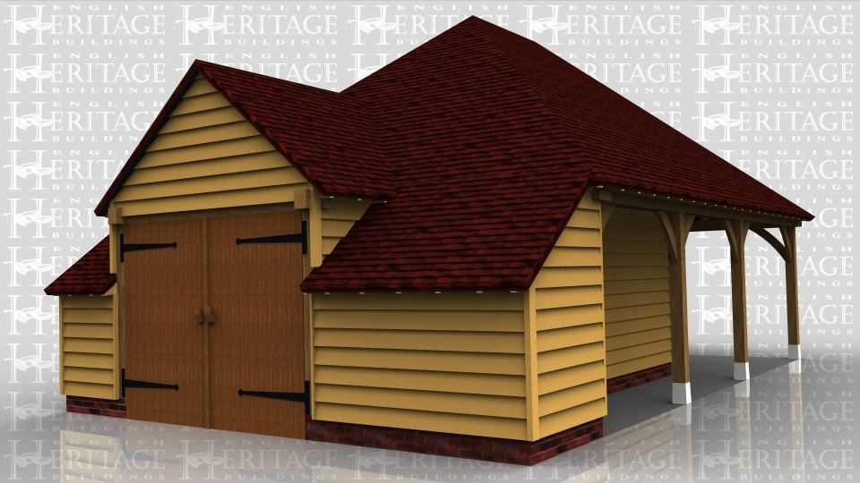 This oak framed building has two enclosed bays with a barn entrance on the left hand side accessed by a set of garage doors. The front of the building has a set back partition on the two enclosed bays. while the third bay is open.