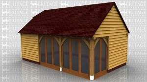 This oak framed building has three enclosed bays. Two of the bays have full length opening garden room windows to the front of the bay, and two garden room windows to the right. There is also a single circular window to the first floor right side.