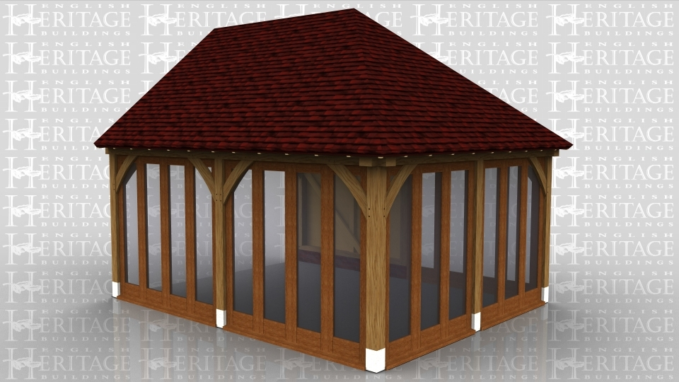 This oak framed garden room is designed to be attached to an existing building on the left hand side. The front and right sides have full length opening garden room windows, and the rear side has four garden room windows.