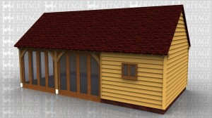 This oak framed home leisure building is formed of three enclosed bays with full length garden windows to the front and left side. The right hand bay has no windows but has trimming for a chimney.