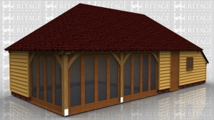 This oak framed home leisure building has two bays with full length opening garden room windows to the front and left side, and two enclosed bays to function as a store or workshop. The store is accessed via a single door to the front of the building and has a two pane window to the front, as well as an enclosed logstore to the right side.