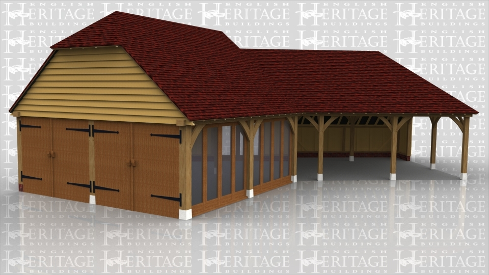 An oak framed building in a dog-leg shape with one section open with 2 bays for parking whilst the other end enclosed with two large doors, full height glazing along one side and an upper floor area accessed via an internal staircase.
