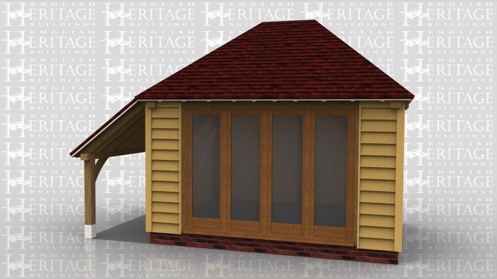 A oak frame garden room / summer house with full height glazing and log store on one side.