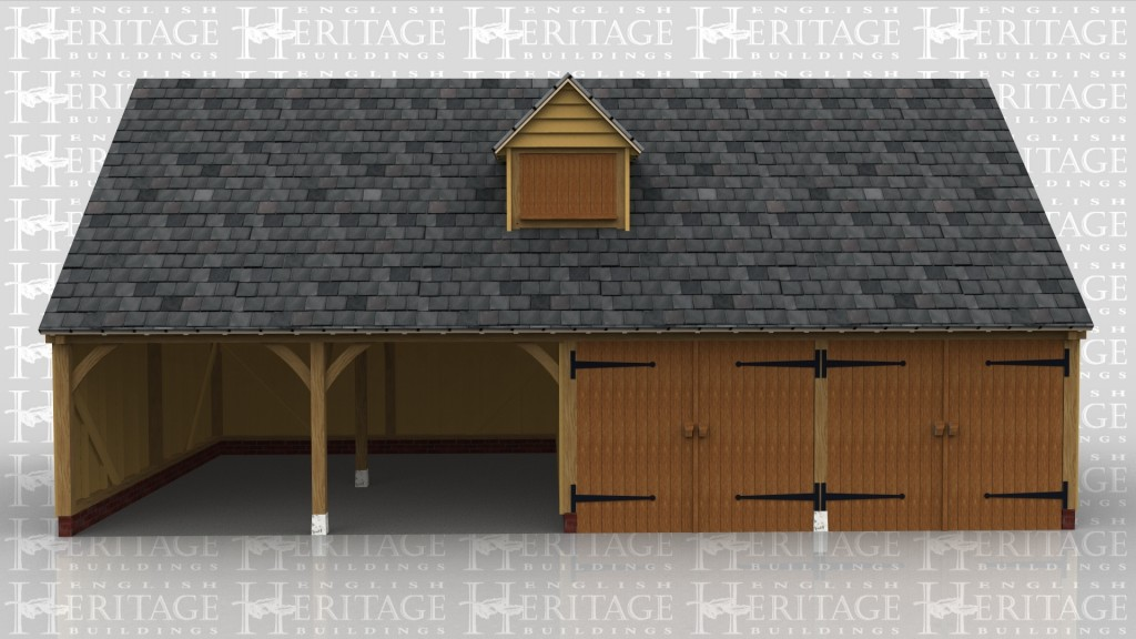 An oak framed garage with 4 parking bays, two of which are open and two enclosed by barn doors. The roof has a dormer for detail and there is 4 rooflights at the rear of the building to bring in more natural light.