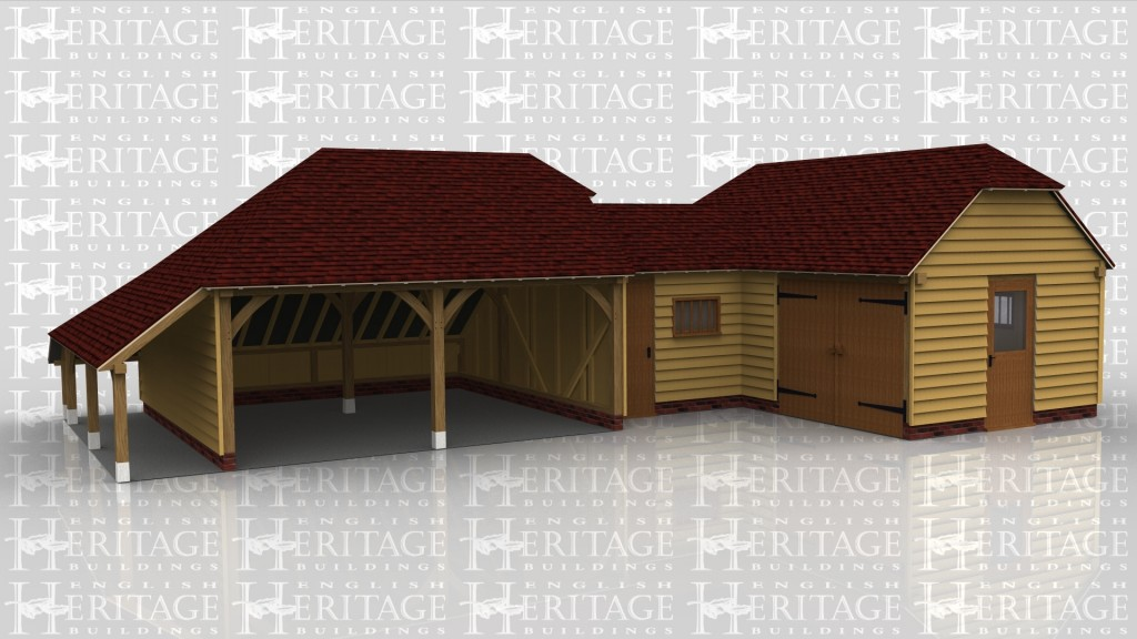 An oak framed garage and connected to a studio space with a storage link building between.