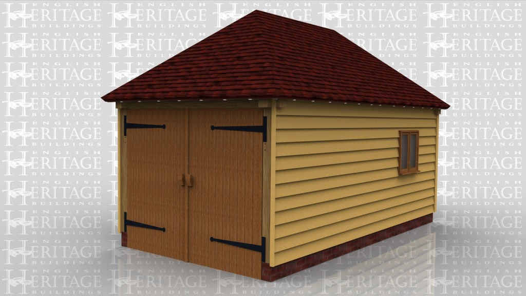 A simple oak framed enclosed garage to fit a single car. It also has a two paned window to the right hand side.