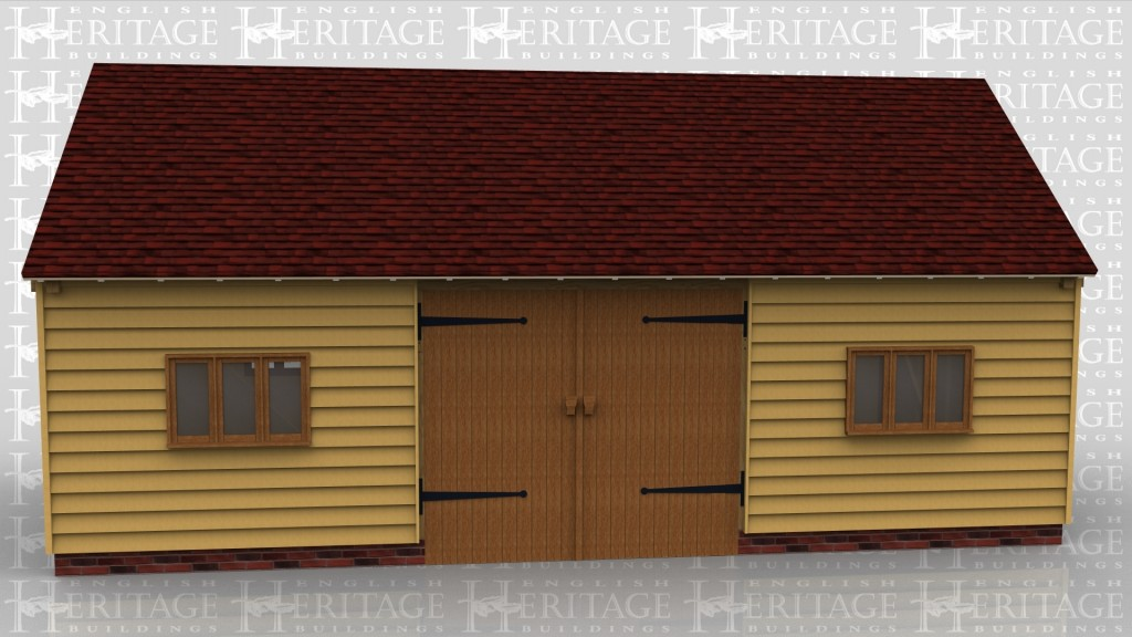 A simple oak framed building with a set of barn doors to a large open space.