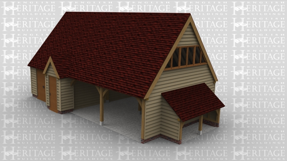 An oak framed garage with two open bays and another bay which could be used as studio space. An outshot stoage to the right hand side. Upper floor space with large windows accessed by internal stiars.