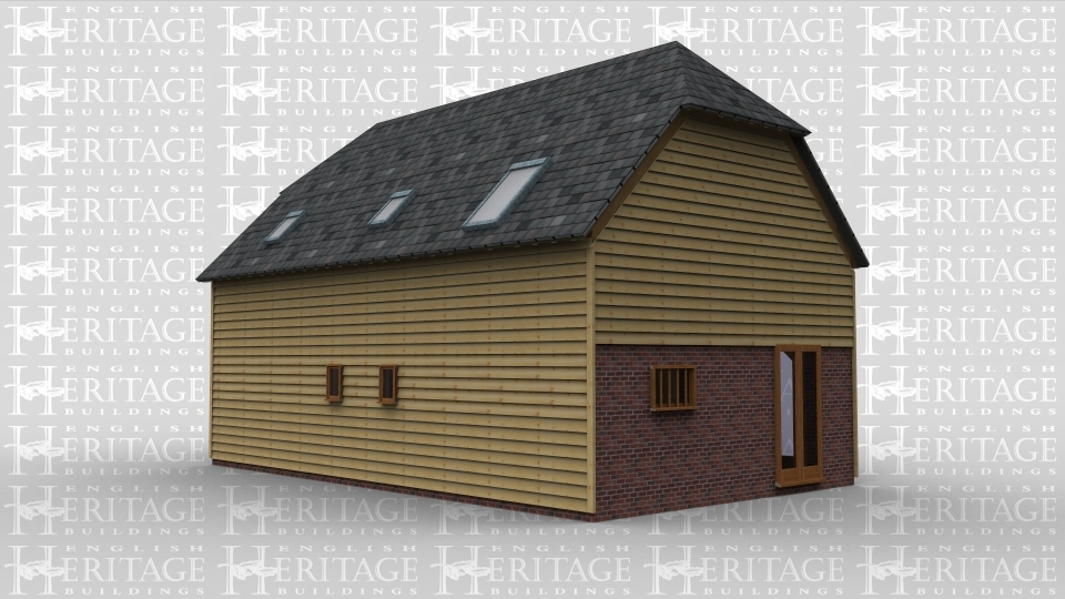 An oak framed house with full height glazing. Doors are situated on the front of the building and either end, with a porch attacthed to the front door. On the first floor roof lighting is used.
