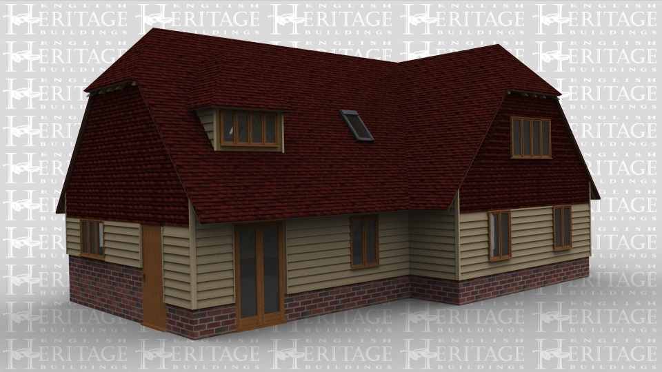 An oak framed house in a T shape. Both buildings have doors and plenty of single windows, with the upstairs having roof lighting and windows in dormers to produce maximum light. Bottom floor also contains full height glazing on some parts of the building.