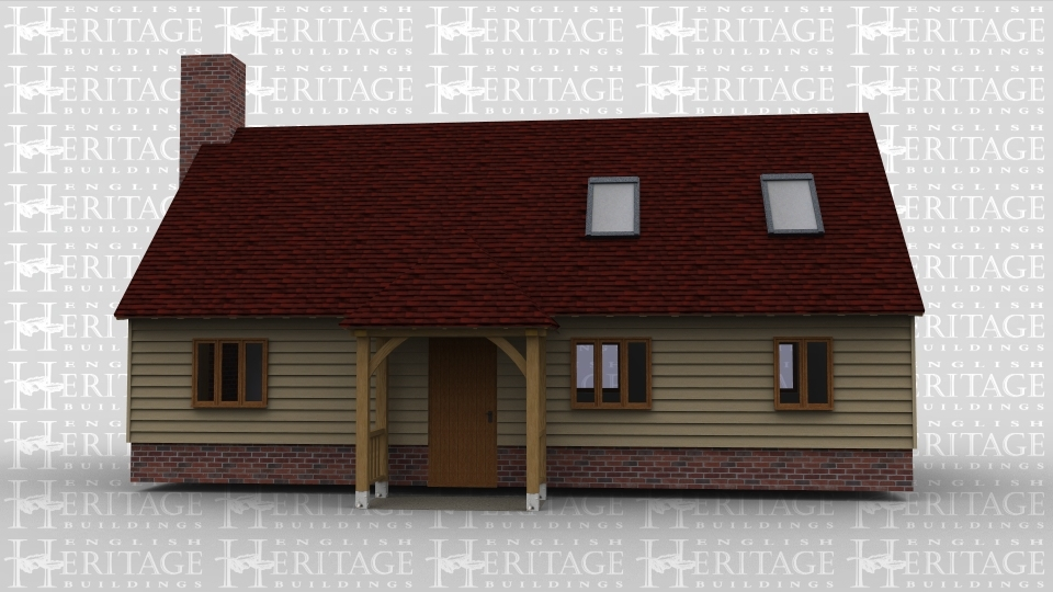 An oak framed single storey house with upper roof space. Ground floor has single windows and a front door with a porch. Upeer space has roof lighting to allow natural light. House is completed with a brick chimmney on one side.