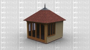An oak framed garden room / summer house with a decorational finnial on the top of the roof. Full height glazing is used on one side of the building, with single windows used on the other two sides.