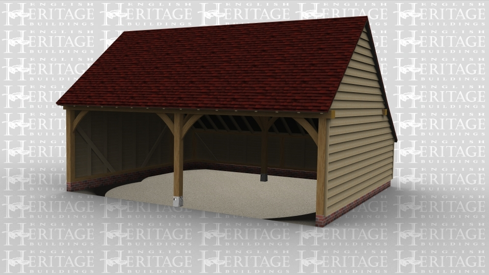 An oak framed garage with two parking bays.