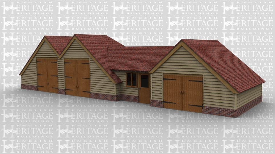 An oak framed barn with two main sections. First area has two large barn doors and connects to the other by a link building with a door, the other section having another set of barn doors. Whole of building has roof lighting to create natural lighting.