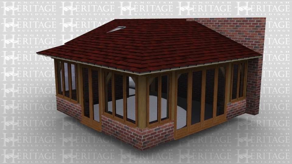 An oak framed extention to a brick wall. Both full height and single glazing is used on all sides of the building. Roof lighting is used on a monopitched roof.