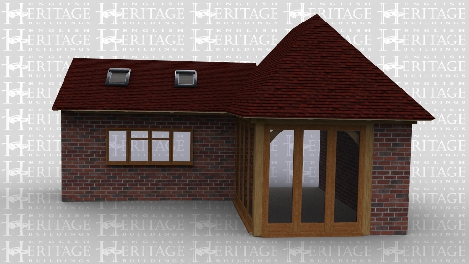 An oak framed house extention. In one part, full height glazing is used, whilst in the other part of the building roof lighting is used to allow maximum sunlight.