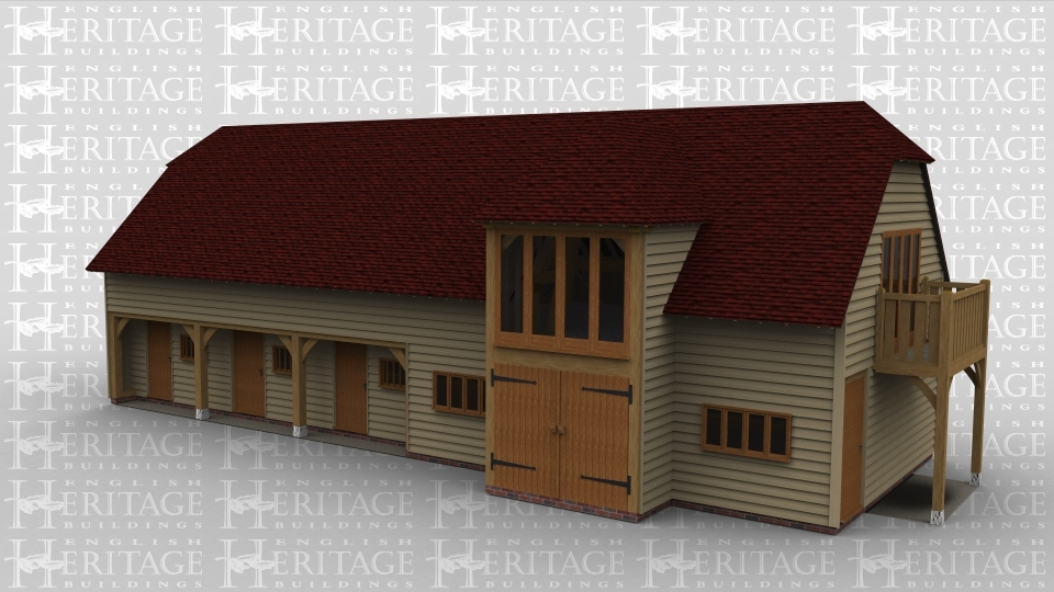 An oak framed two storey building. On the bottom floor both single and barn doors are used in this equestrian style building. On the first floor there is a balcony as well as roof lighting. Full height glazing is also used as well as sling brace in the framework.