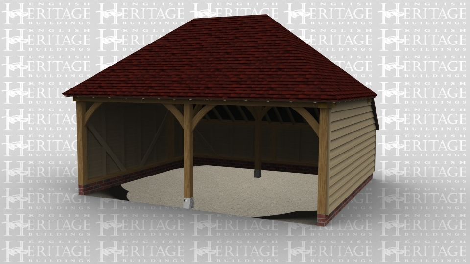 A simple oak framed garage with two open parking bays.