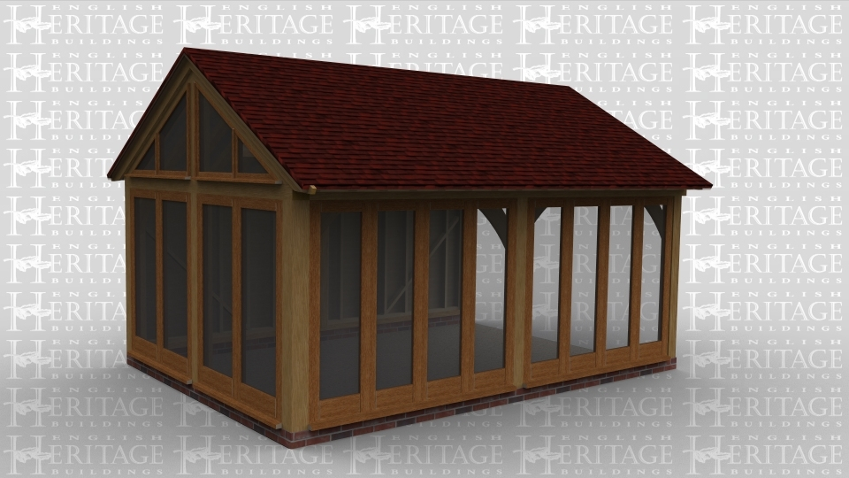 A oak framed garden room / conservatory extension with full height glazing doors on two sides. Two roof lights in the roof and feature trusses.