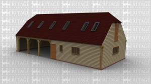 An oak framed garage / barn. Three open bays and a studio next door and also upper floor with plenty of space. Roof lighting is used to create natural light in top floor.