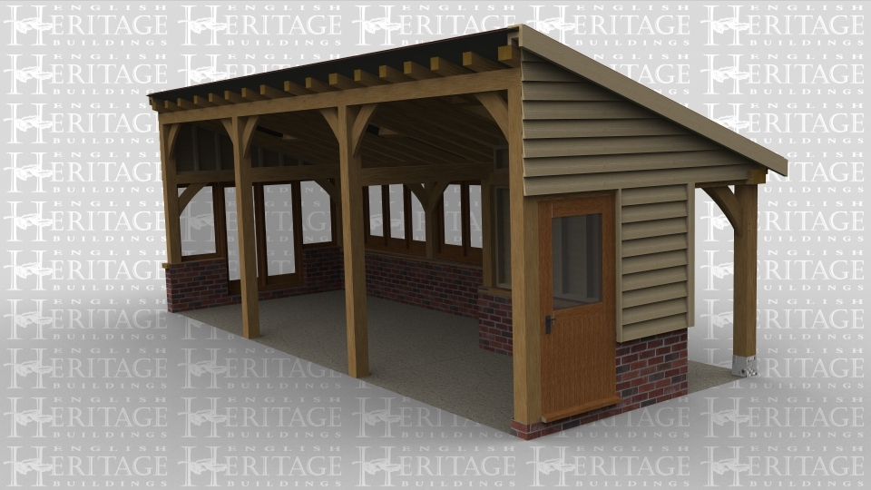An oak framed extention. The monopitch roof also has roof lighting, with single glazing surrounding the building this allows maximum sunlight into it.