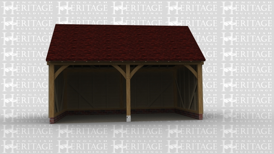 A traditional oak framed garage with two open bays.