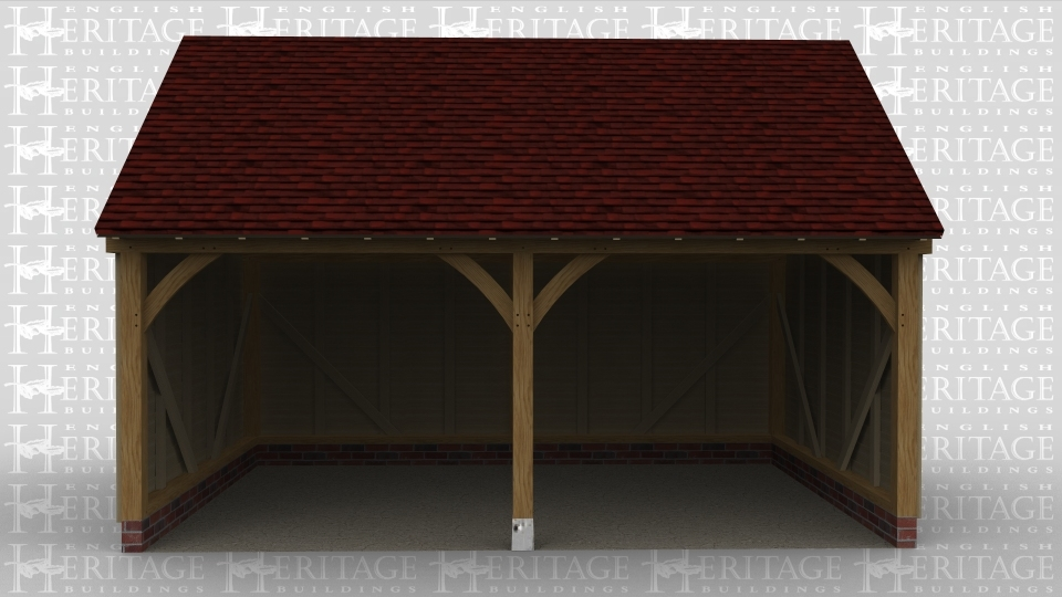 A 7 bay oak frame building with 7 pairs of garage doors at the front  and a solid brick wall on the right side.