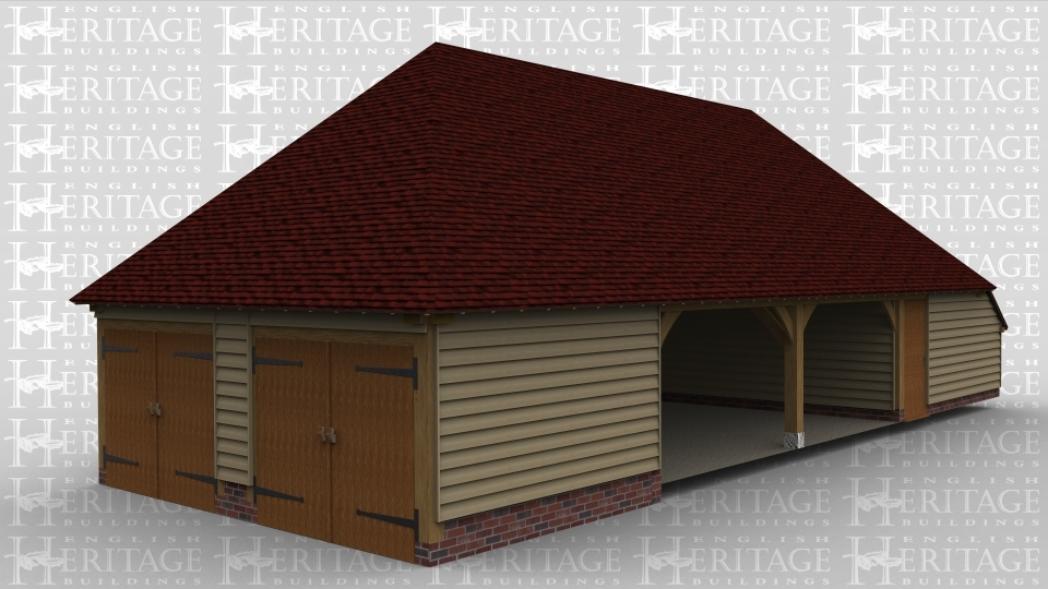 An oak framed garage. There are two open bays in the middle whilst one end of the building has two enclosed bays by two sets of barn doors, the other end of the building has storage space.