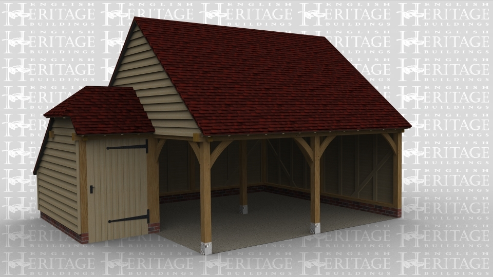 An oak framed garage with two open bays and a small storage space connected next to it.