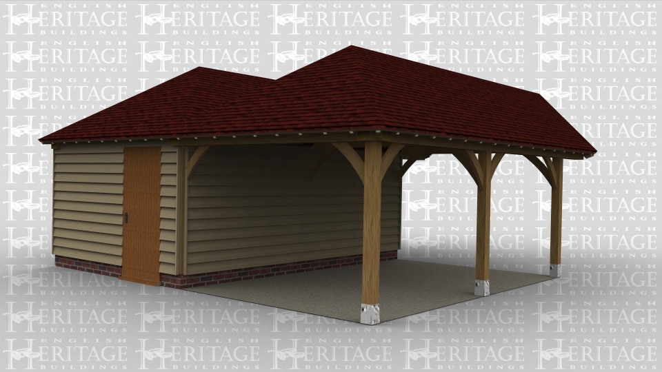 An oak framed extention with one area enclosed as extended living space / workshop and the other opens out into a car port.
