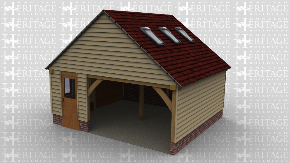 An oak framed garage with one open parking bay. Building also has a set of barn doors for ease of access and roof lighting for maximum sunlight.