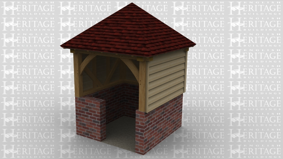 An oak framed shelter with a small entrance between the bricks.
