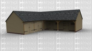 An L shaped oak framed building, with two bay garage and storage area. Attached is two bays for stables.