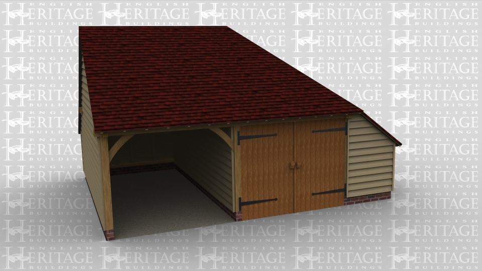 An oak framed garage with one open parking bay and secure space next door which has some roof lighting and extra space with the aisle on the side.